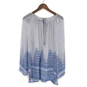 Lucky Brand Printed Sheer Blouse with Long Sleeves